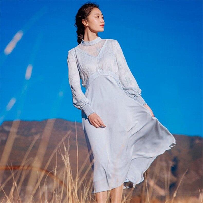 Neue Hohe Qualität Explosionen Freizeit Vintage Elegante Kleider Frauen Stickerei gnade fullSleeve Frühling sommer Casual Kleid-in Kleider aus Damenbekleidung bei  Gruppe 2