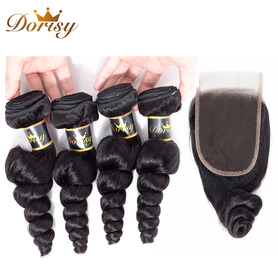 Dorisy Hair indian Human Hair 4 Bundles With Lace Closure Loose Wave Non Remy Bundles Natural Color Bundles With Closure