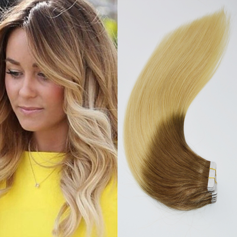 Ombre Remy Tape In Skin Weft Human Hair Extensions Dark Bleach