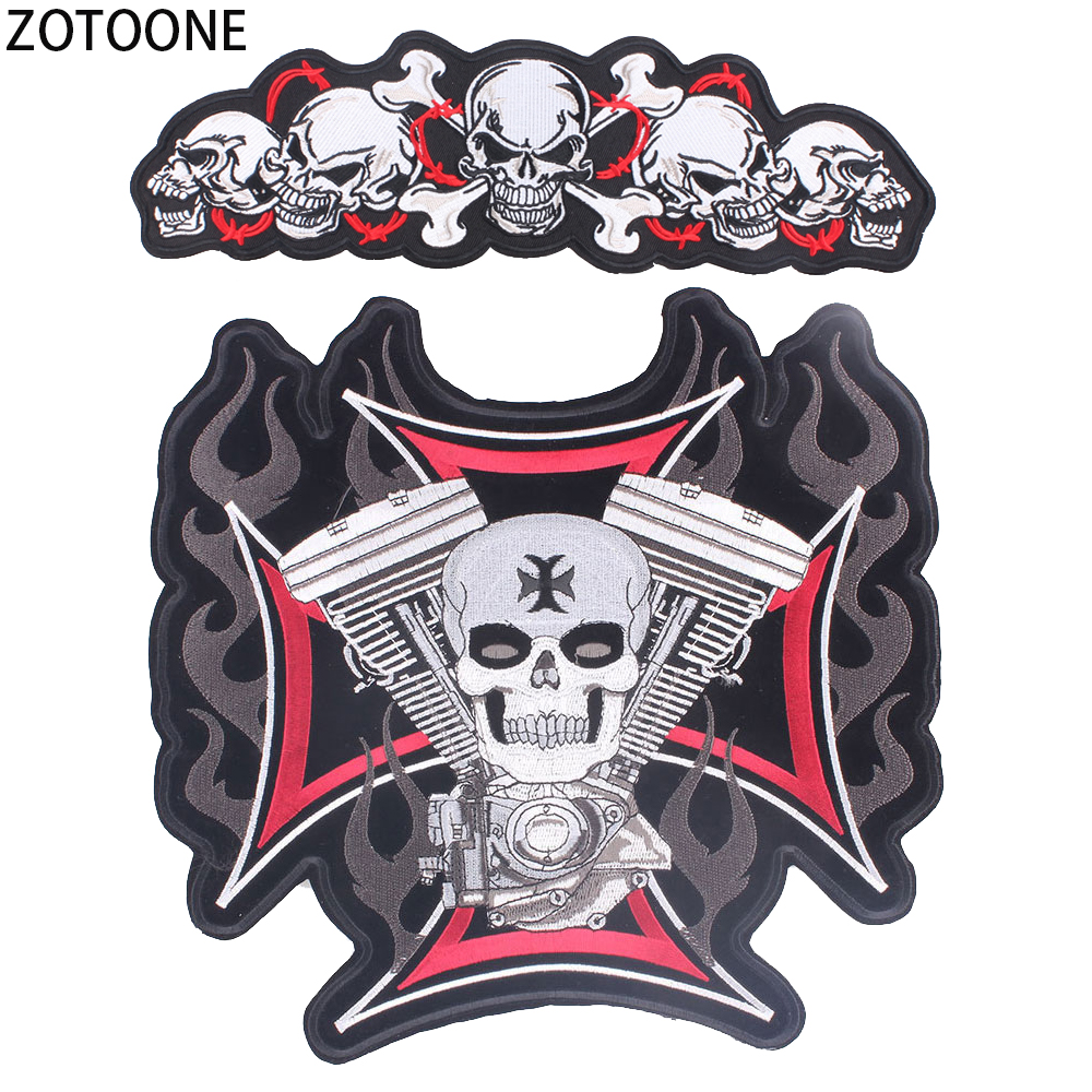 ZOTOONE Personality Skull Parches Diy Large Embroidered Iron on Patches for Clothing Punk Stripes Clothes Back Stickers Applique in Patches from Home Garden