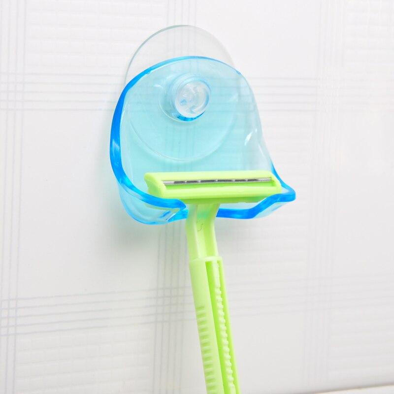 1Pcs Clear Blue Plastic Super Suction Cup Razor Rack Bathroom Razor Holder Suction Cup Shaver 2018hot sale