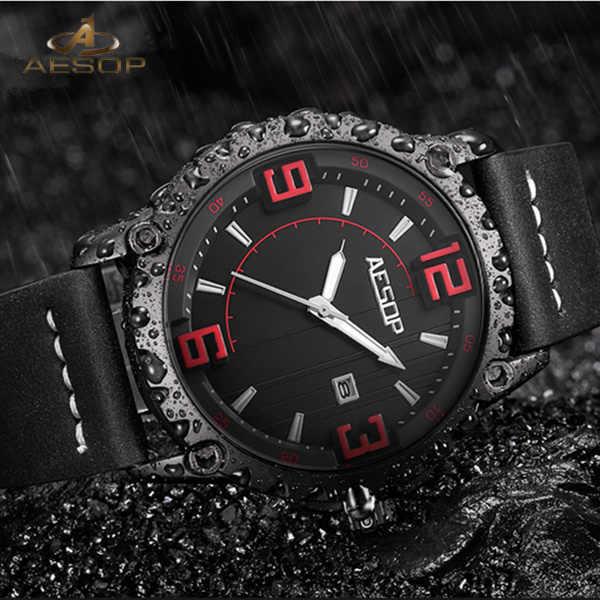 Ezopa zegarek Relogio Masculino mężczyźni luksusowe męskie zegarki luksusowe wojskowy mężczyzna zegar wodoodporny data zegarek z paskiem skórzanym unikalne Saati