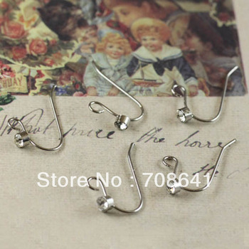 New Silver Plated Copper Blank Round ball Clear Rhinestone CZ Earring Hooks DIY Ear Craft Jewelry Making Findings Wholesale