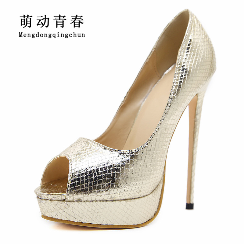 2018 New Women Pumps Fashion Women Snake Pattern High Heels Sexy Peep Toe Thin Heel Slip On Platform Summer High Heel Shoes nayiduyun women genuine leather wedge high heel pumps platform creepers round toe slip on casual shoes boots wedge sneakers