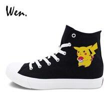 Wen Design Pikachu Shoes Canvas Sneakers Lace Up Anime Pokemon Men Women Black White Classic Footwear