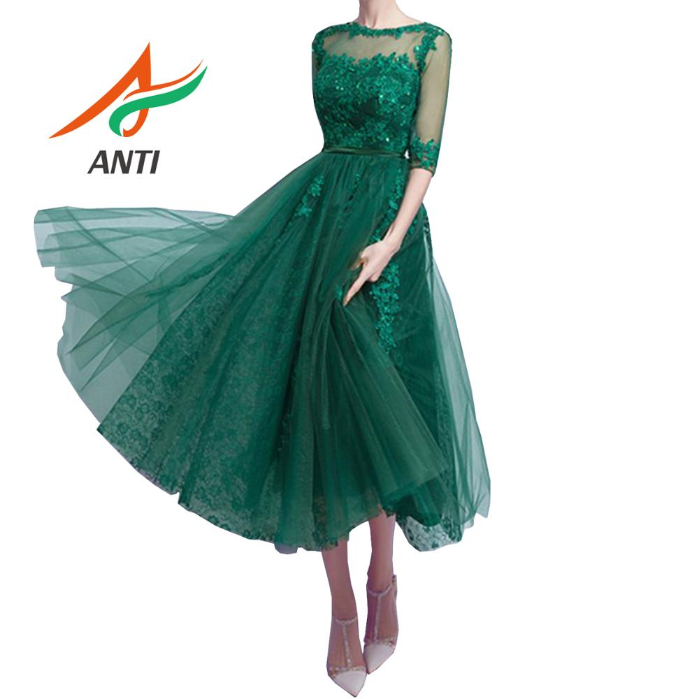 ANTI 2019 Vintage Dark Green Robe De   Cocktail     Dresses   With Half Sleeve Vestidos Coctel Tulle Backless Tea-Length Party Gowns