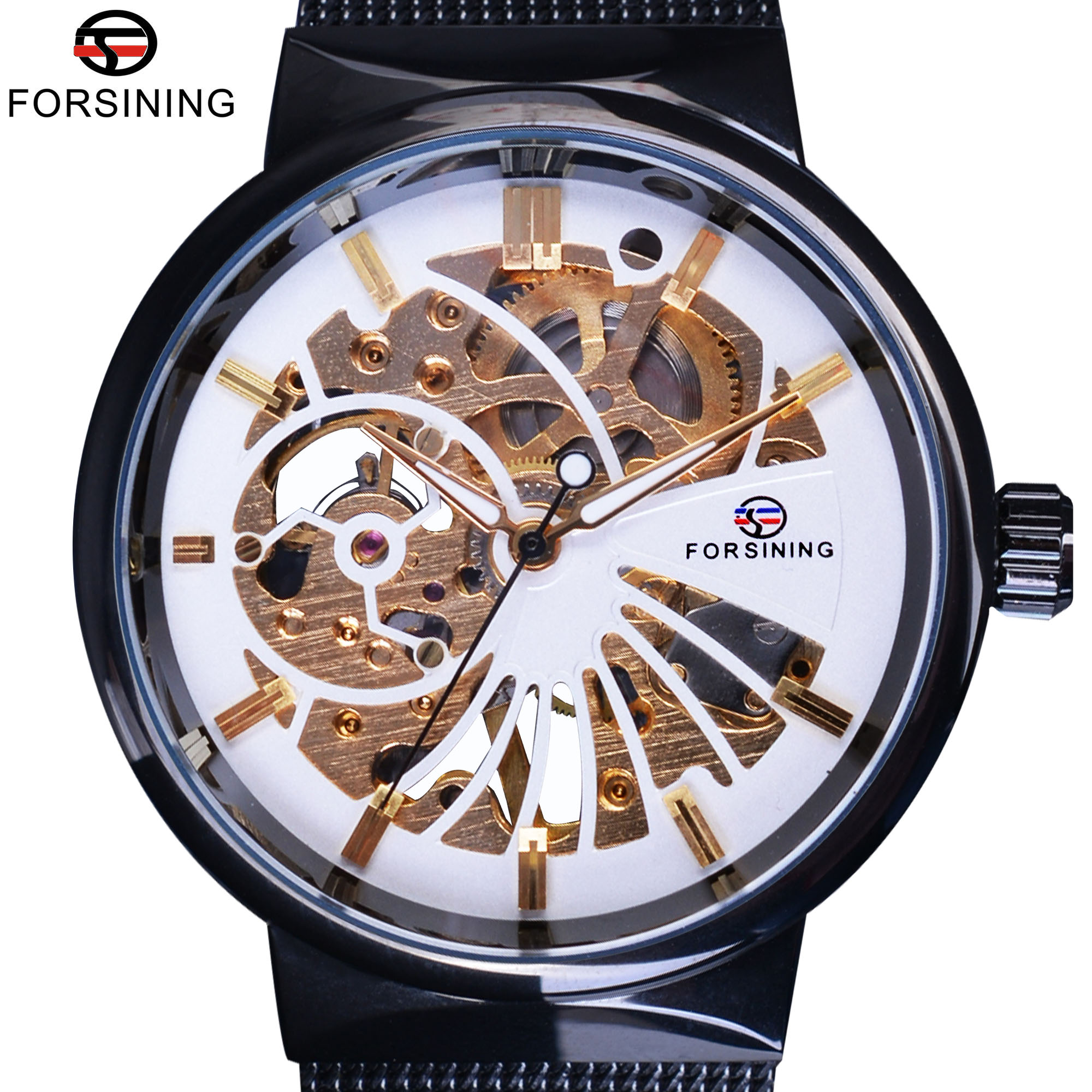 Hearty Forsining Fashion Dress Watch Men Auto Mechanical Watches White Dial Ultra Thin Mesh Strap Minimalist Wristwatch Montre Homme Men's Watches Watches