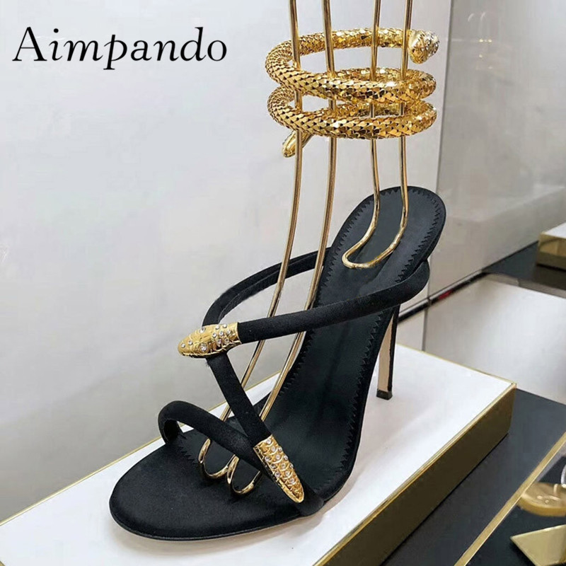 2019 Gold Snake Ankle Strap Gladiator Sandals Woman Open Toe High Heel Shoes Women Fashion Party