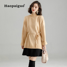 Vintage Long Sleeve Pink Soft Knitted Sweater Women 2018 Autumn Winter Casual Thick Warm Solid Pullover Tops Sashes