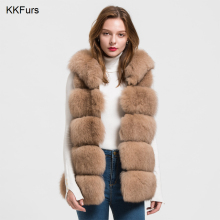 JKKFURS 2019 New Hooded Fox Genuine Fur Vest Womens Winter Gilet Ladies Fashion Waistcoat Wholesale Retail S1715