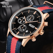 2016 megir Watches Men Luxury Top Brand Fashion Men's Nylon Band Designer Quartz Watch Male Wristwatch Relogio Masculino Relojes