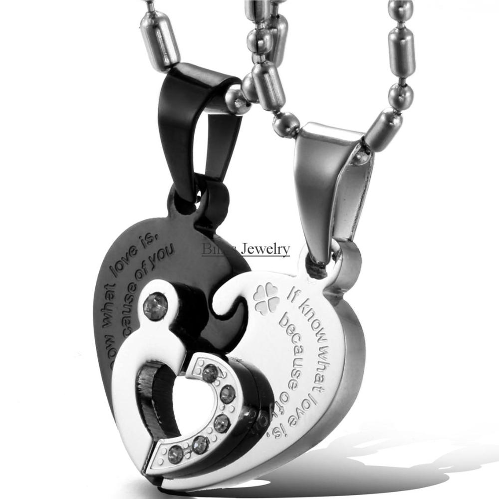 1 pair Black/Sivler 316L Stainless Steel Two Half Heart Necklaces For Couples Lover Heart Pendant Set Christmas Gift