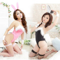 Fashion hot Sexy lingerie Cute Bunny Rabbit dress Backless uniform temptation Siamese erotic transparent suit AFUCW002