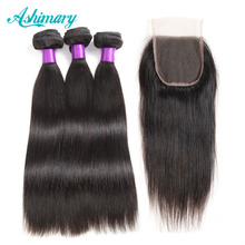 Ashimary Peruvian Straight Hair with Closure 3 Bundles with Lace Closure 100% Human Hair Bundles with Closure Non-Remy Hair(China)