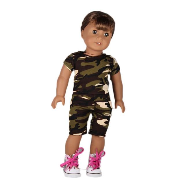 cfed52f5ad89fb Camouflage Kleding Past 18   Amerikaanse Meisje Pop Kleding Blauw Glitter  Schoenen Met Pop Accessoires