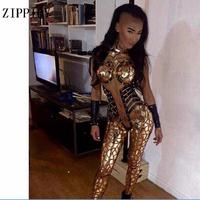 Sexy Gold Sequins Glisten Crystals Skinny Jumpsuit Bright Bar Evening Outfit Party Singer Costume One Piece Design Stage Rompers