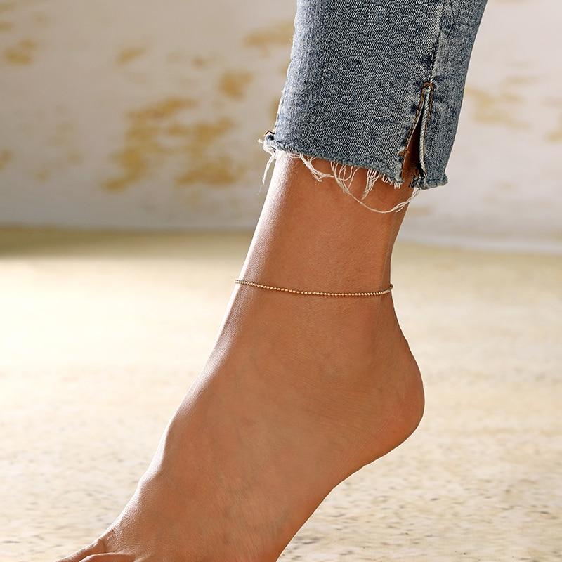 XIYANIKE 2019 Simple Trendy Geometric Beads Anklet For Women Barefoot Crochet Sandals Foot Jewelry Two Layer Foot Legs Bracelet