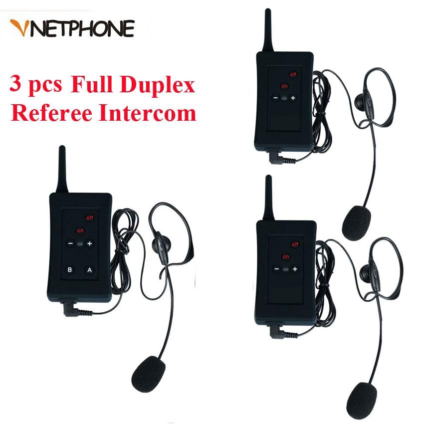 Referee Headset Motorcycle Intercom Soccer Bluetooth Interfone Full-Duplex Football 3pcs