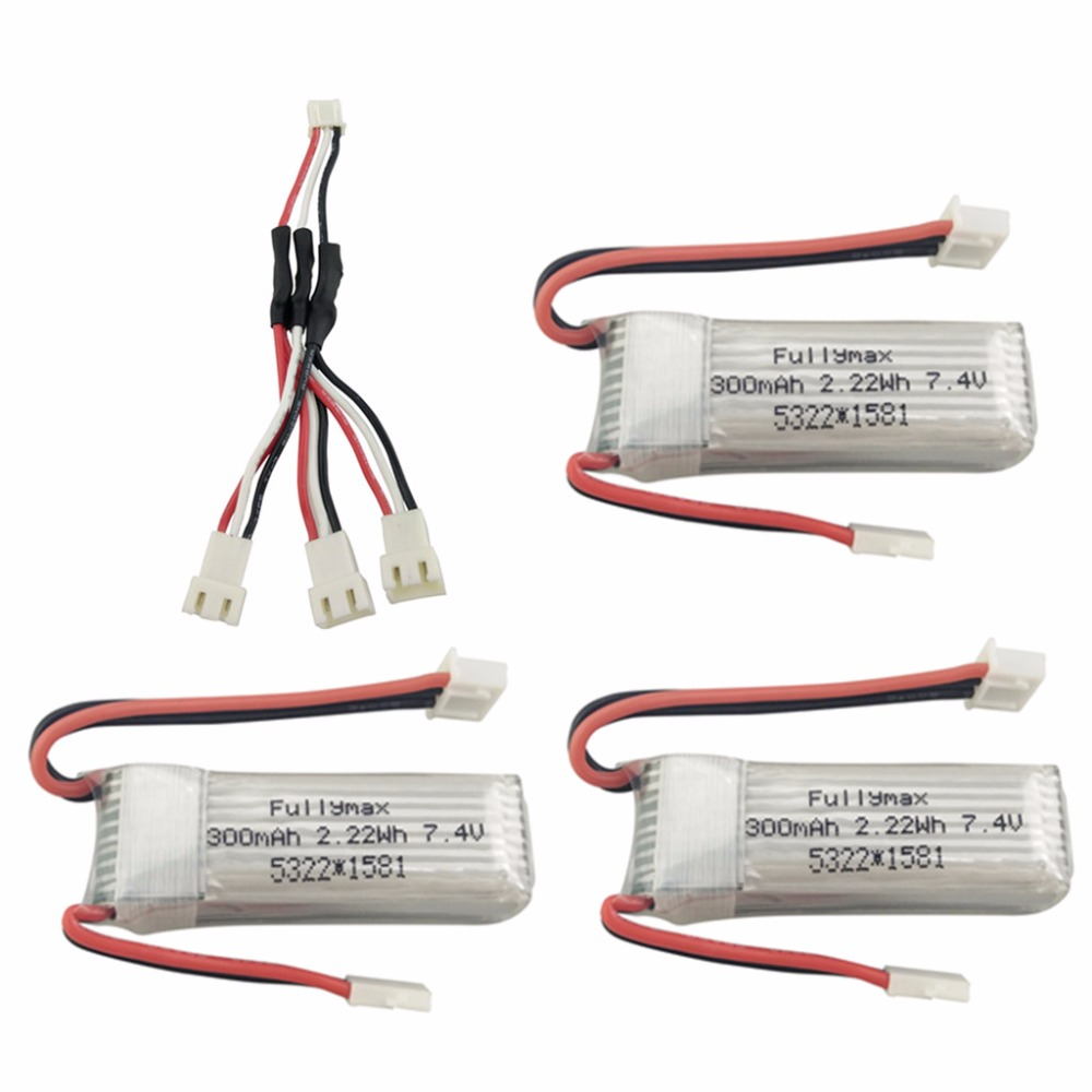 3PCS 7.4V 300mah lithium battery with 1 to 3 conversion line for WLToys F959 XK DHC-2 A600 A700 A800 A430 spare parts3PCS 7.4V 300mah lithium battery with 1 to 3 conversion line for WLToys F959 XK DHC-2 A600 A700 A800 A430 spare parts