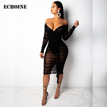 Plus Size Lace Sheer Mesh Off Shoulder Sexy Midi Dress Slit Club Outfit Elegant Sheath Bodycon Party Woman Vestidos