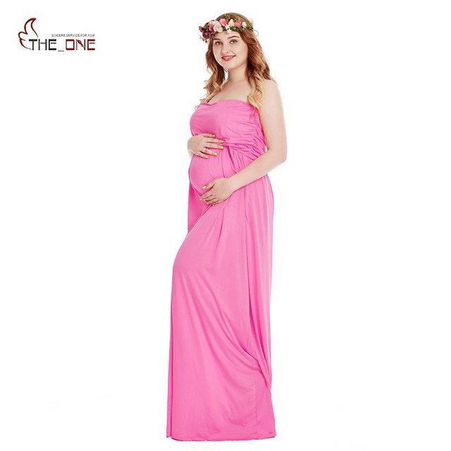430f4382558 MUABABY Woman Pregnant Clothes Sleeveless Tube Summer Maternity Dresses for  Photo Shoot Women Evening Long Gown for Baby Shower