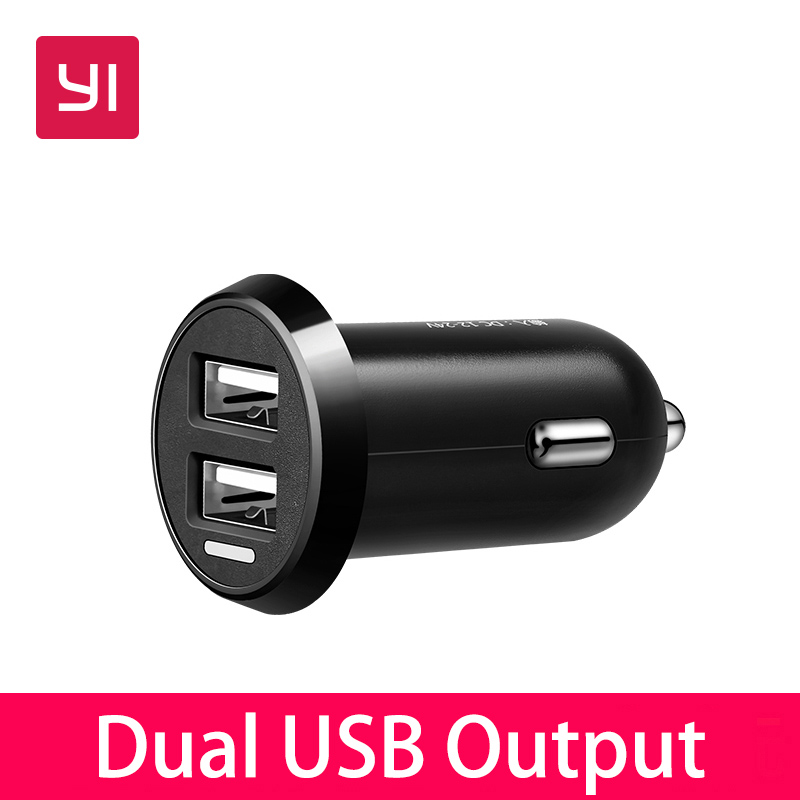 YI Smart Dual-port Auto Charger Dual USB Output Fast Charge Car Charger yi yi mini car cigarette lighter charger w dual usb white 12 24v