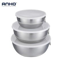 ANHO 3PCS Stainless Steel 0.75L/1.5L/2L Mixing Bowls with lid and handles Food Container For Fruits Bake Tableware Kitchen Tool