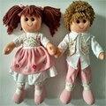Meninos das meninas da forma bonito 35 cm macio bonecas de pano de pelúcia recheado vestido meninas bebê dos desenhos animados handmade toys presente de aniversário de casamento z10