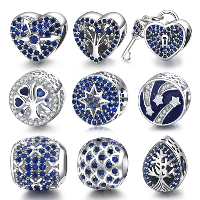 Original 925 Sterling Silve Pave Blue CZ Charm Beads Fit Pandora Charms Bracelet jewelry making For Women Birthday Gift