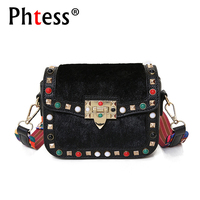 2018 New Women Messenger Bags Small Rivet Design Leather Crossbody Female Shoulder Bags Sac A Main