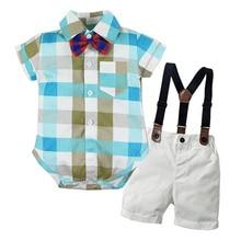 Комбинезон для маленьких мальчиков, костюм для младенцев, формальная Детская рубашка в клетку с бантом + белые шорты с поясом, комплект одежды для новорожденных