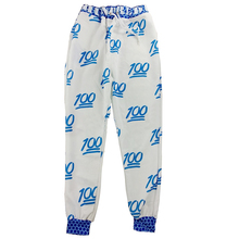 Emoji Printing Pretty 3D Sweatpants Joggers Sweatshirt Pants-S(White and blue)