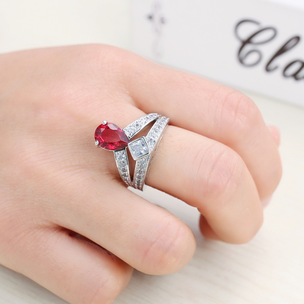 White Gold Color Luxury Water Drop Zirkon Crystal Ring Red CZ zircon ...