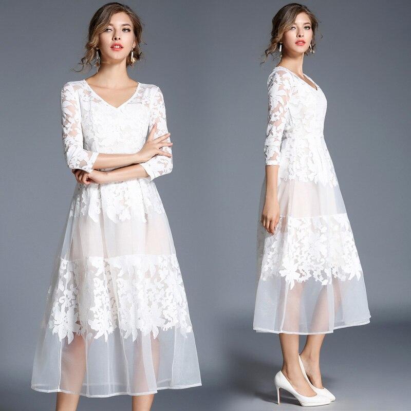 Europe mode femmes automne nouvelle robe blanche broderie col en V robes robes dame longue Sexy vêtements marque Design vêtements