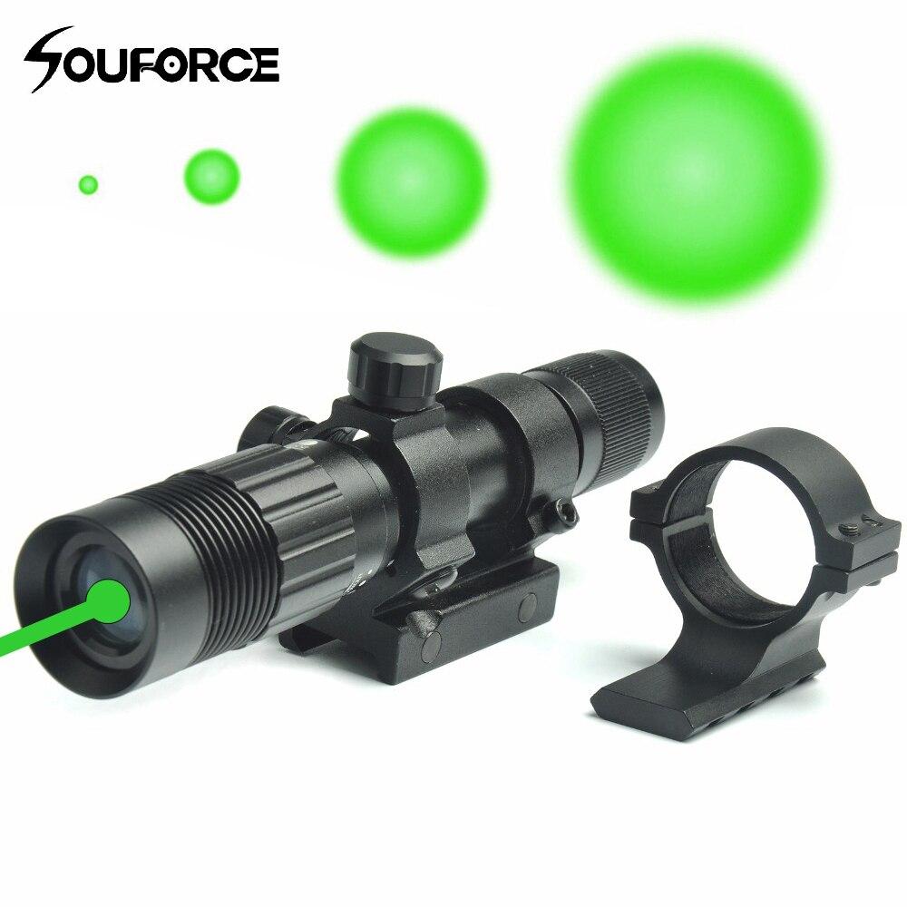 Ajustável Ponto Verde Mira A Laser Designador Iluminador Lanterna Apto para 20mm Rail Mount para a Caça Rifle