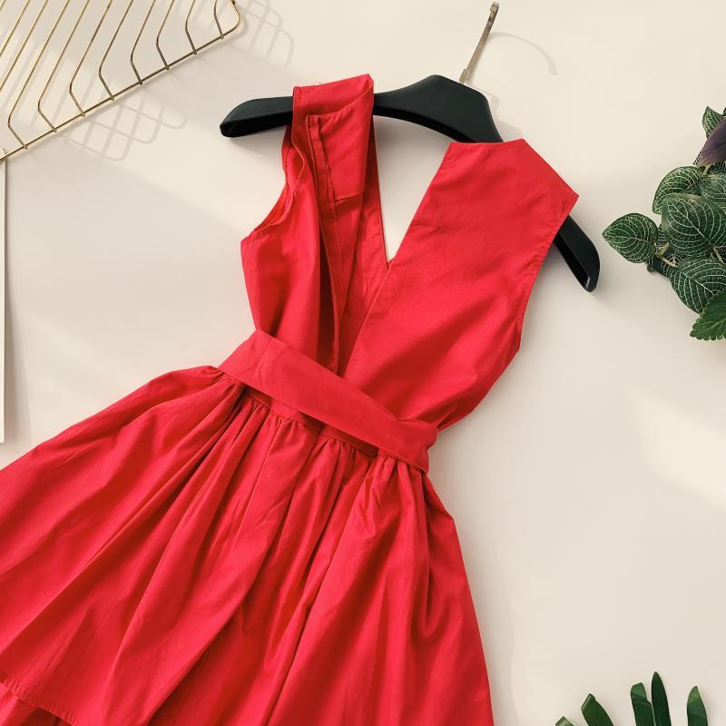 Korean Vintage Pure V Collar Sleeveless High Waist Bow Tie Double Ruffle Holiday Dress Women Vestidos E348 69