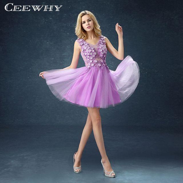 Lavendel Appliques A Line Frauen Formale Kleider Kurze robe de ...
