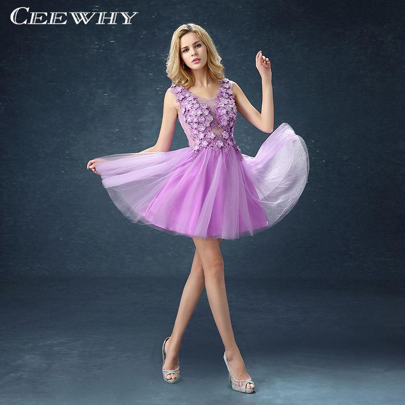 Lavender Appliques A Line Women Formal Gowns Dresses Short Robe De