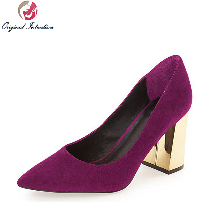 Original Intention Mature Women Pumps 2017 High-quality Pointed Toe Square Heels Pumps Popular Shoes Woman Plus US Size 4-15 comfy women pointed toe square high heels office shoes woman flock ladies pumps plus size 34 40 black grey high quality
