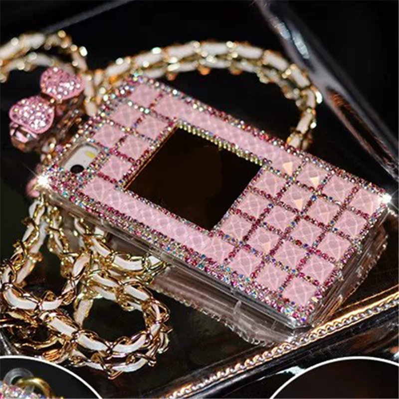 For iPhone 5S 6 6S Plus 7 Plus Bling Diamond Crystal Rhinestone Mirror Lanyard Perfume Bottle Phone Case TPU Cover handmade DIY