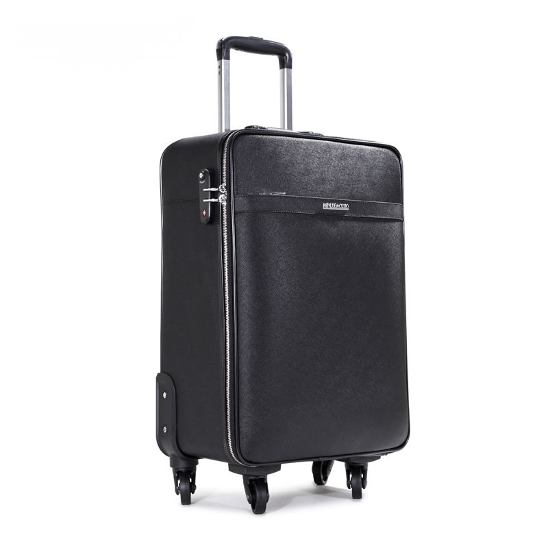 Vintage first layer of cowhide universal wheels trolley luggage travel bag genuine leather bag 20 24 commercial luggage