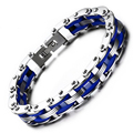 Fashion Punk Cool Biker Chain Bracelet For Men Stainless Steel Motorcycle Bracelet Bangle Blue Silver Jewelry Erkek Bileklik