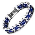 Fashion Punk Cool Biker Chain Bracelet For Men Stainless Steel Motorcycle Bracelet Bangle Blue Silver Jewelry Erkek Bileklik