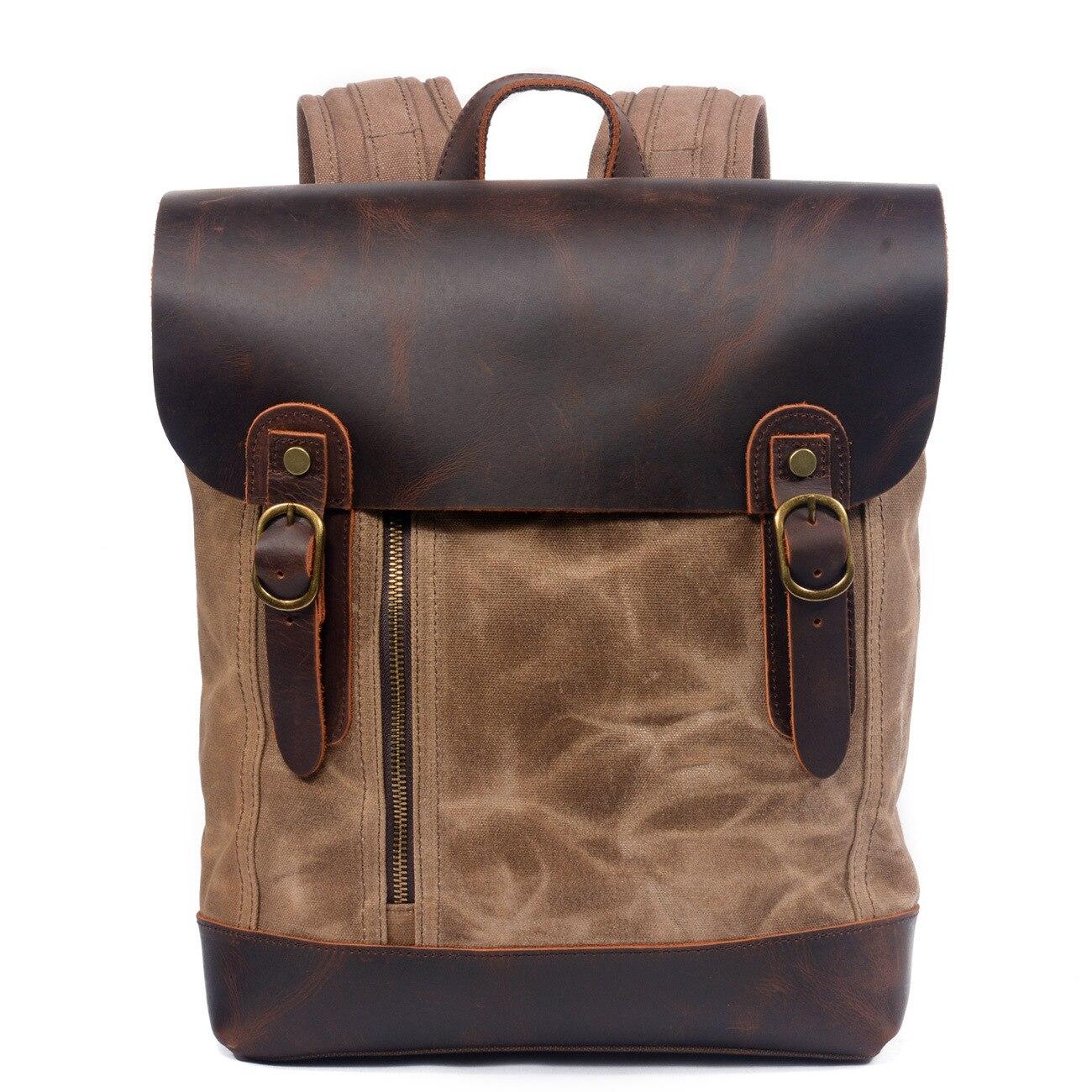 Sac à dos Vintage en cuir de cheval pour hommes sac à dos en toile imperméable à l'eau de haute qualité sac à dos pour ordinateur portable rétro