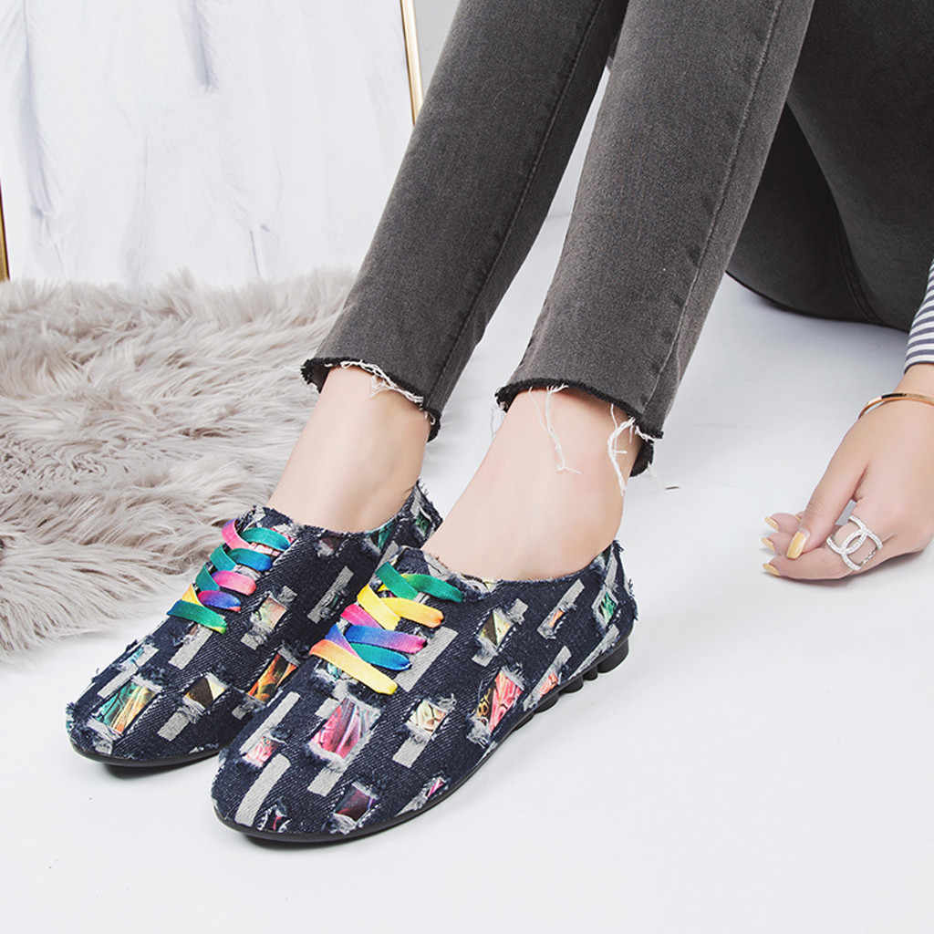 new fashion printed shoes for Women Low-Heeled Leisure Round Toe Denim Cloth Non-Slip Lace-Up Single woman Shoes