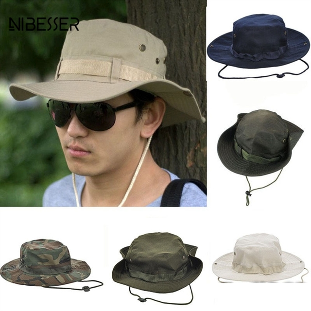 NIBESSER Fashion Unisex Bucket Hats Military Camouflage Bob Camo Bonnie Hat  Jungle Fishing Barbecue Cotton Mountain 303b7dc7895
