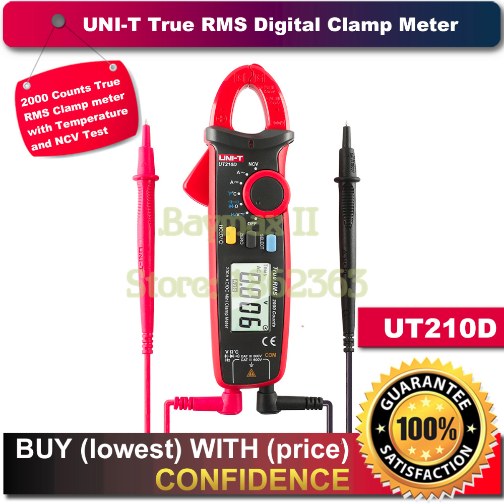 UNI T UT210D True RMS AC DC Current Voltage Mini Clamp Meter with Frequency Capacitance Resistance