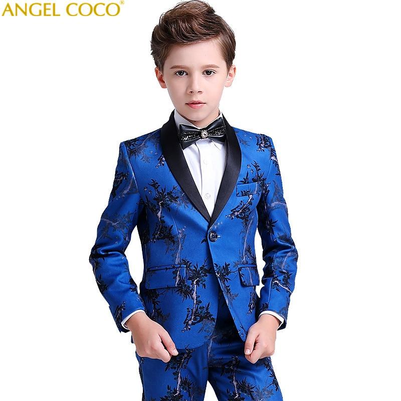 5 Piece Suit/Trousers/Vest/Shirt/Bow Tie Boys Suits For Weddings Costume Enfant Garcon Mariage Boys Blazer Jogging Garcon Blue