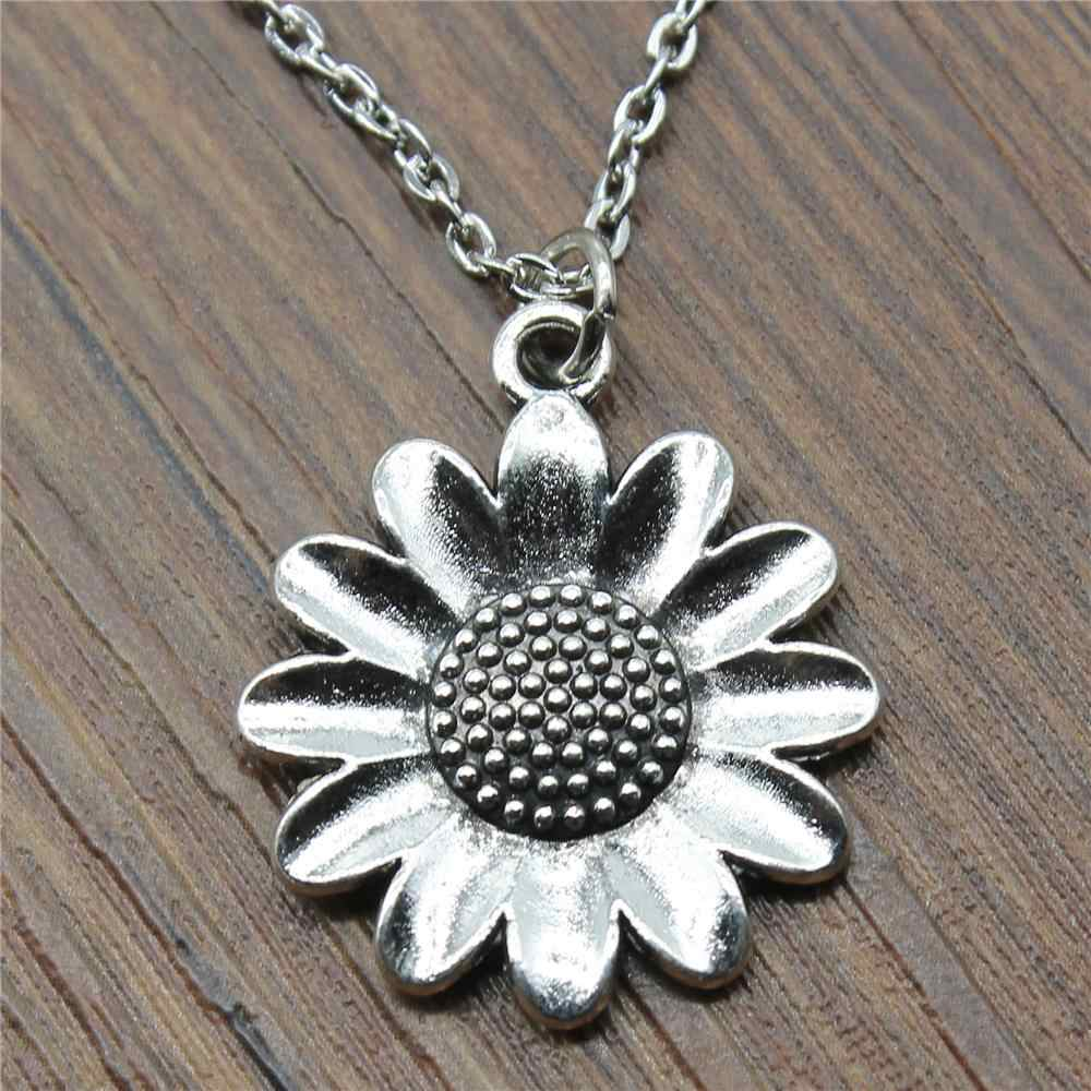 New Fashion Jewelry Simple 30x25mm Sunflower Flower Pendant Necklace For Women Gift Antique Silver Plated