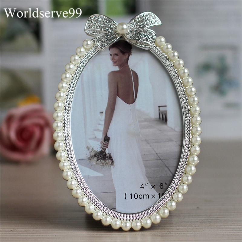 7inch Crystal Pearl Oval Wedding Photo Frame Metal Alloy: Europe Crystal Pearl Bowknot Photo Frame Wedding Bridal